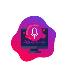 Voice and audio recognition software icon vector