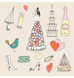 wedding set cute hand drawn icons vector image