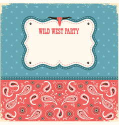 Wild west party card for text color background vector