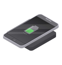 Wireless charging icon isometric style vector