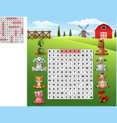 Word search puzzle about farm animals vector