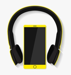 Yellow headphones and phone vector image