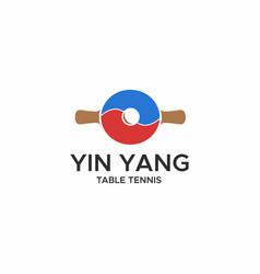 yin yang table tennis logo vector image