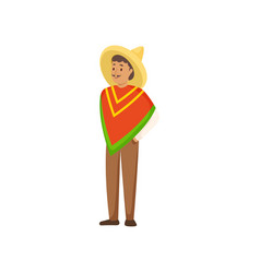 young smiling man in national mexican clothes with vector image