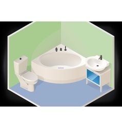 Bathroom isometric flat 3d vector image