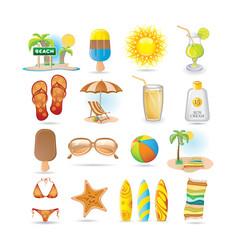 beach icon set vector image vector image