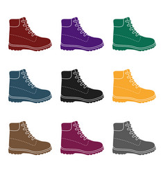 hiking boots icon in black style isolated on whit vector image vector image