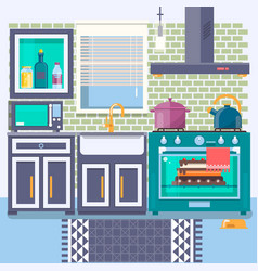 kitchen with furniture flat style vector image vector image