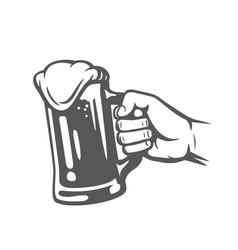 male hand holding beer glass vector image vector image