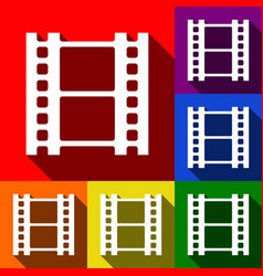 reel of film sign set of icons with flat vector image