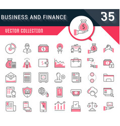 set flat line icons business and finance vector image vector image