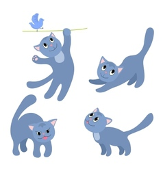 Set of happy cats 4 vector image vector image
