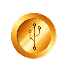 coin with circuit electric icon vector image