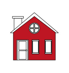 Color silhouette cartoon red facade village with vector