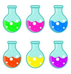 laboratory bulb set icon flat cartoon style vector image vector image