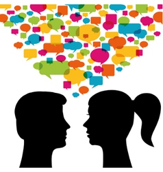 Man and woman with speech bubbles vector image