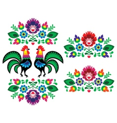 Polish ethnic floral embroidery with roosters vector image