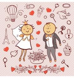 Romantic collection cute wedding set vector
