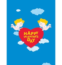 Romantic Valentine Cupid and heart Happy vector image vector image