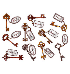 sketch vintage keys with keychain tags vector image vector image