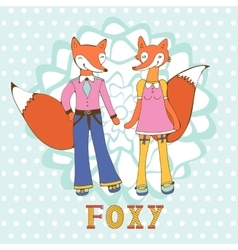 Adorable foxes couple hand drawn vector image vector image