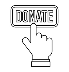 Hand presses button to donate icon outline style vector