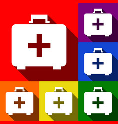 medical first aid box sign set of icons vector image