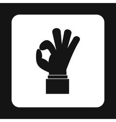 Ok gesture icon simple style vector image