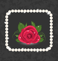 Vintage with red rose and pearls vector image