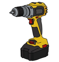 Yellow cordless screwdriver vector image