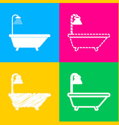 bathtub sign four styles of icon on four color vector image