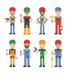 Cartoon workers and other tools under construction vector image vector image