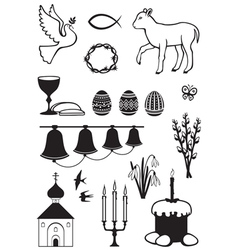 easter set contour vector image vector image