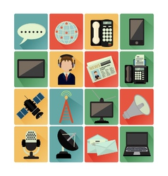flat icons comunication vector image
