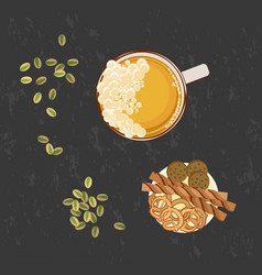 glass of beer and snack vector image