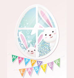 happy easter bunnies are looking through window vector image vector image