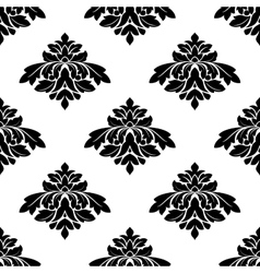 Seamless black and white damask style pattern vector image