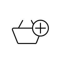 thin line market basket add icon vector image