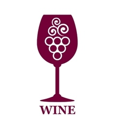 wine glass icon with grapes vector image