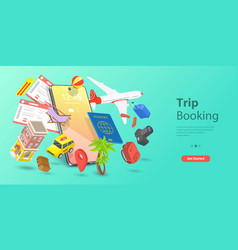3d isometric flat landing page template vector image