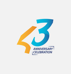 43 year anniversary celebration template design vector