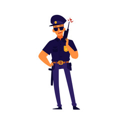 a policeman in a dark uniform with a weapon flat vector image