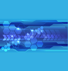 abstract blue hexagon polygon line light techno vector image