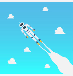 Android robot flying on blue sky vector