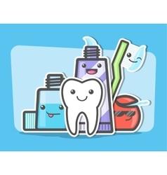 Best friends of healthy teeth vector image