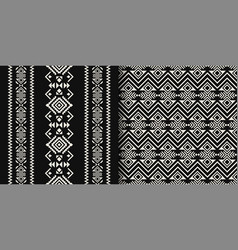 Black and white ethnic geometric seamless patterns vector