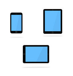 black tablet and smart phone in the style of the vector image