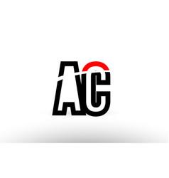 Black white alphabet letter ac a c logo icon vector