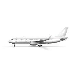 blank glossy white airplane or airliner side view vector image