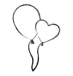 Blurred silhouette couple balloons flying romantic vector